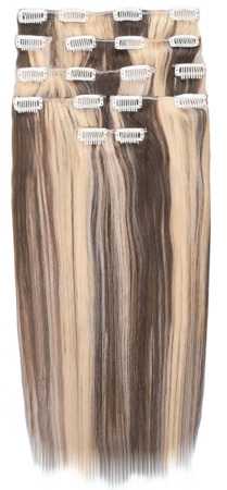 Ľudské vlasy clip-in Baleyage jasný a tmavý blond 613,4
