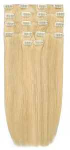 Ľudské vlasy clip-in Baleyage jasný prírodný blond