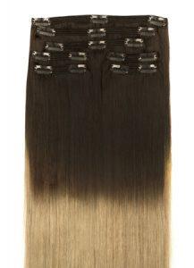 vlasy clip-in Ombre tmavo hnedá a medený blond T1B18