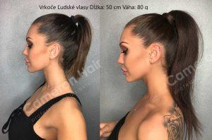 Vrkoče Ľudské vlasy Dĺžka: 50 cm Váha: 80 g