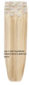 clip in syntetické Stredný blond a platinový blond 24.613