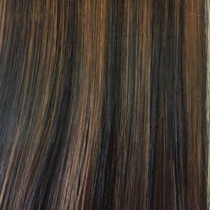 Vrkoč syntetiký vlasy 53 cm. r4 tmavohnedá s výraznými farbami