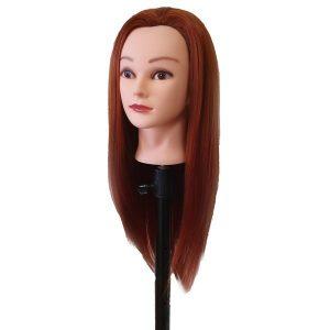 Cvičná hlava so syntetickými vlasmi 48 cm