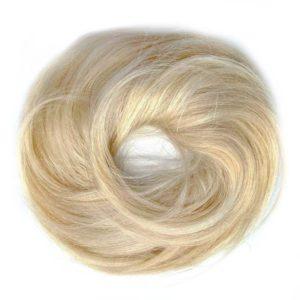 Príčesok – drdol na gumičke, Ľudské vlasy jasný blond