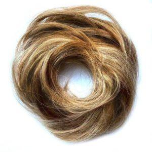 Príčesok – drdol na gumičke, Ľudské vlasy blond so svetlo hnedými prameňmi 22.8